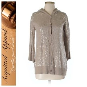Alice + Olivia Sequined Hooded Cardigan Sweater